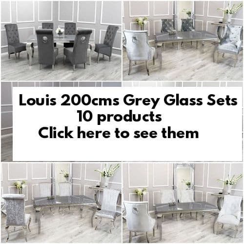 Louis Grey Glass 200cms Dining Tables