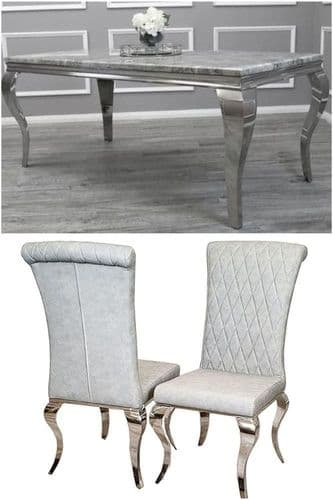 Louis Light Grey 200cms Marble Dining Table &  Light Grey Nicole Faux Leather Chairs