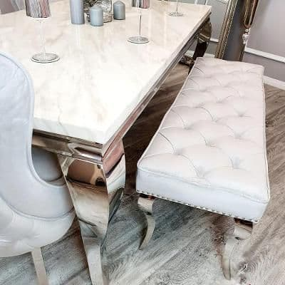 Louis Light Grey Velvet 140cms Dining Bench
