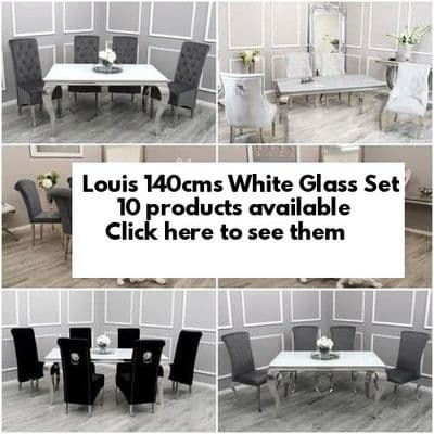 Louis White Glass 140cms Dining Tables