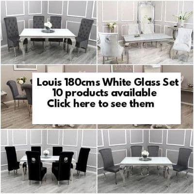 Louis White Glass 180cms Dining Tables