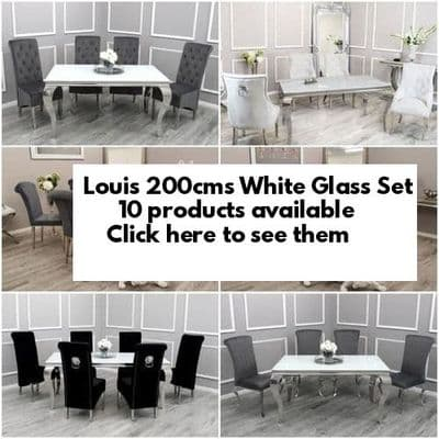 Louis White Glass 200cms Dining Tables