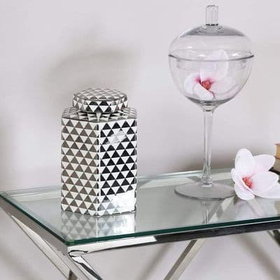 Medium 24cm Hexagon White & Silver Ginger Jar