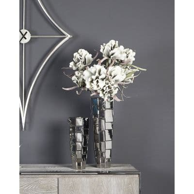 Medium Ceramic Silver Vase