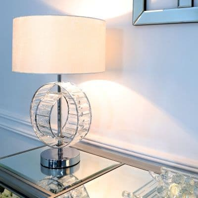 Metal and Crystal Table Lamp with White Cotton Shade