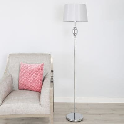 Metal Chrome Base with Fabric Drum-shaped Gray Shade Floor Lamp