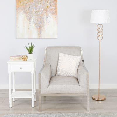 Metal Gold Swirl Design Base with Drum-shaped Fabric White Shade Floor Lamp
