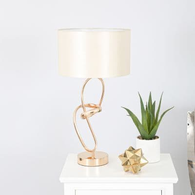 Metal Unique Gold Link Base with Chrome Drum-shaped Fabric Shade Table Lamp