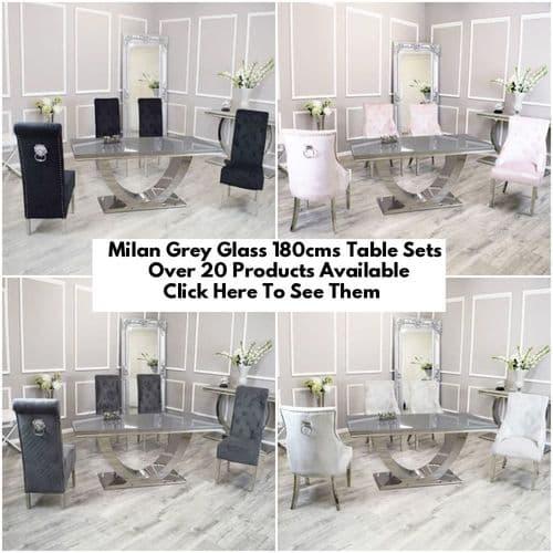 Milan Grey Glass 180cms Dining Tables