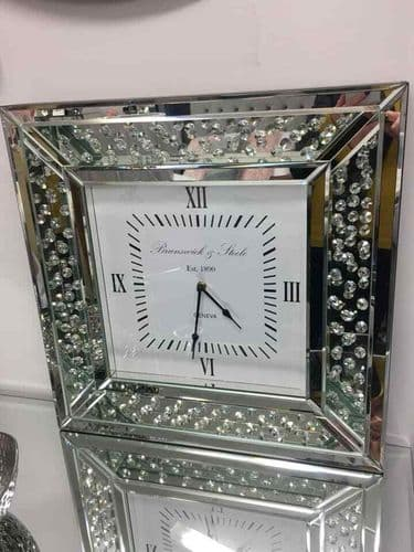 Mirrored Glass & Floating Crystals Square Wall Clock