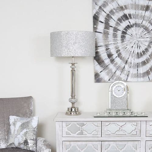 Nickel Diamante Candlestick Table Lamp with Glitter Shade