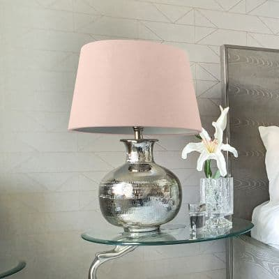 Nickel Plated Round Lamp Base with Velvet Pink Fabric Drum-Shaped Shade Table Lamp