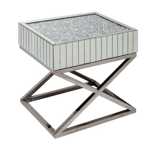Pair Of Crushed Diamond Mirrored Cross Leg  Bedside Tables