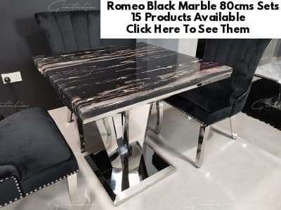 Romeo Black 80cms Marble  Dining Tables