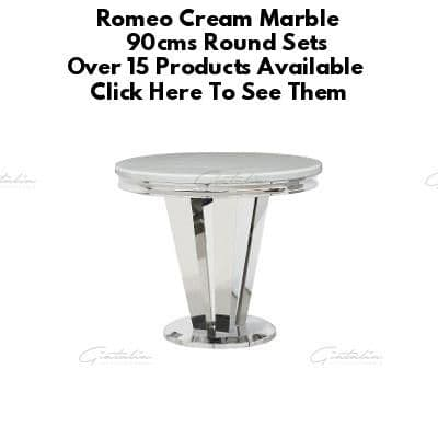 Romeo Cream 90cms Marble Round Dining Tables