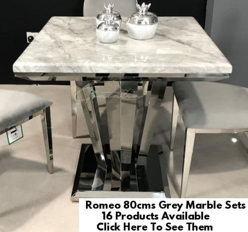 Romeo Grey 80cms Marble Dining Tables