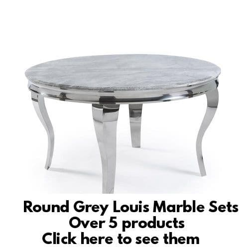 Round 130cms Louis Grey Marble Dining Tables