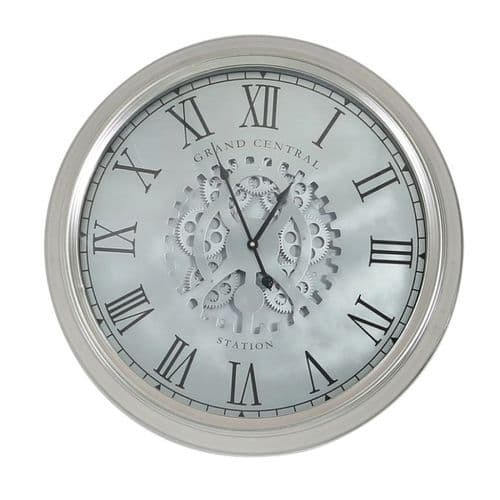 Round 52.5cm Silver Gears Wall Clock with Roman Numerals