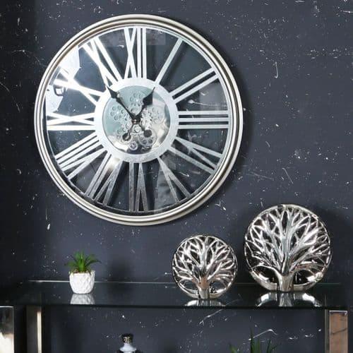 Round 80cm Silver Gears Wall Clock