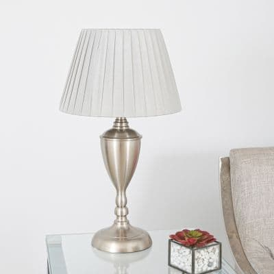 Satin Silver Metal Base with Pleated Gray Shade Table Lamp