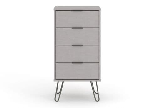 Scandi Grey Four Drawer Narrow Chest Of Drawers