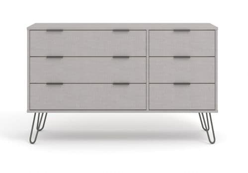 Scandi Grey Wide Six Drawer Chest Of Drawers