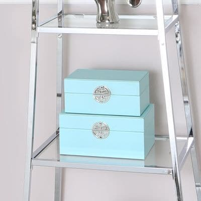 Set Of 2 Blue Faux Leather Jewellery Boxes
