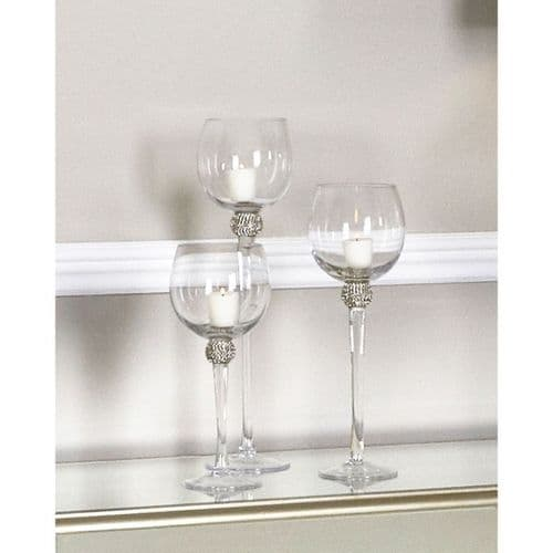 Set Of 3 Milano Glass Candle Holders