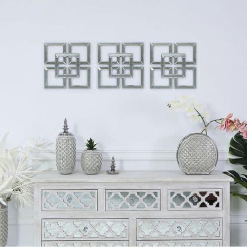 Set Of Three Dubai Clear  Mirrored Geo 40 x 40cms Wall Art