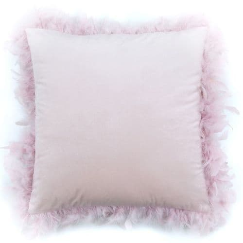 Set Of Two Blush Pink  Feather Velvet Cushions