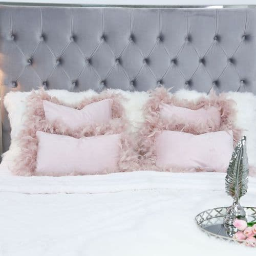 Set Of Two Pink  Rectangular Feather Velvet Cushions