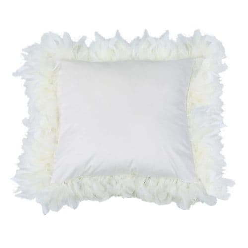 Set Of Two  White  Feather Velvet Cushions