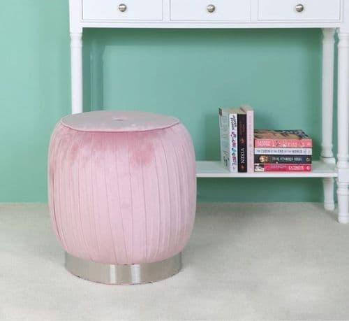 Silver & Blush Pink Round Footstool