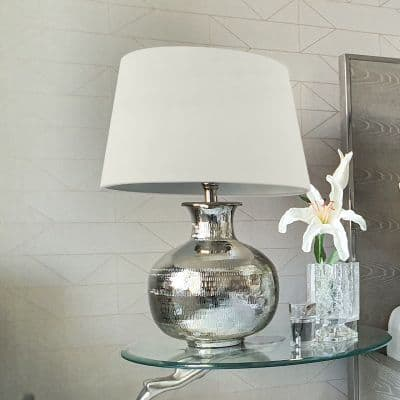 Silver Plated Metal Lamp Base with Velvet Drum-Shaped Grey Shade Table Lamp