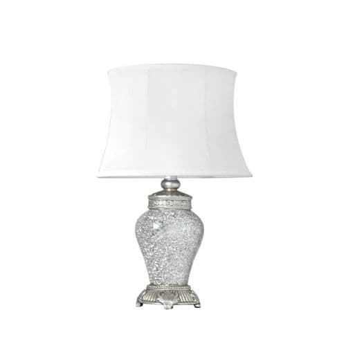 Silver Sparkle Mosaic Medium Antique Silver Regency Lamp With Silver Trimmed White Shade