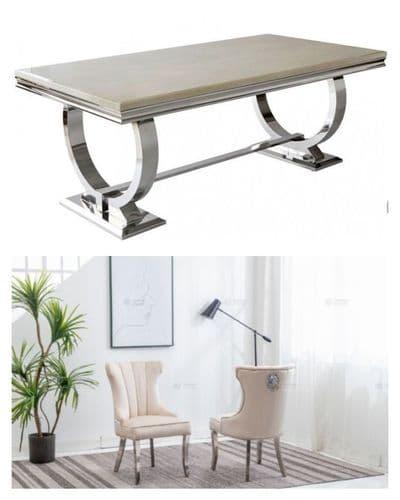 SOLD OUT- Arianna  180cms Cream Marble  Dining Table & Cream  Mayfair Velvet  Lionhead Chairs
