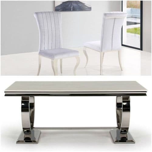 SOLD OUT- Arianna Venus 180cms Cream Marble Dining Table & Grey Louis Chairs
