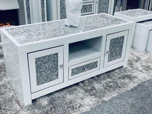 White Widescreen Crushed Diamond Mirrored TV Media Entertainment Cabinet